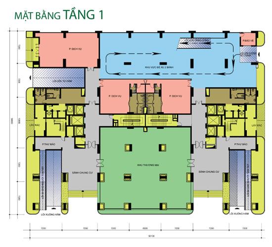 Mặt bằng tầng 1 Tân Hương Tower
