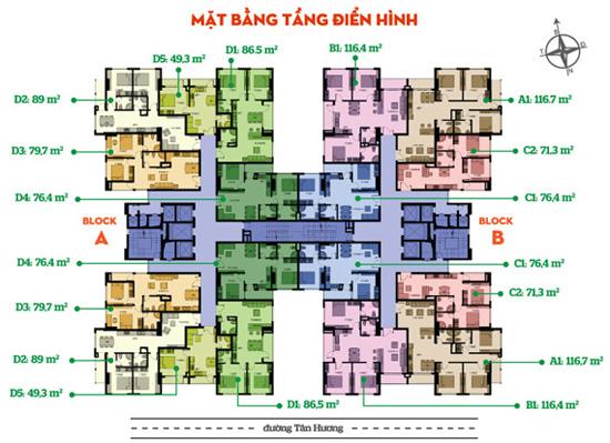 Mặt bằng tầng điển hình Tân Hương Tower