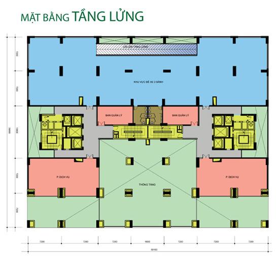 Mặt bằng tầng lửng Tân Hương Tower