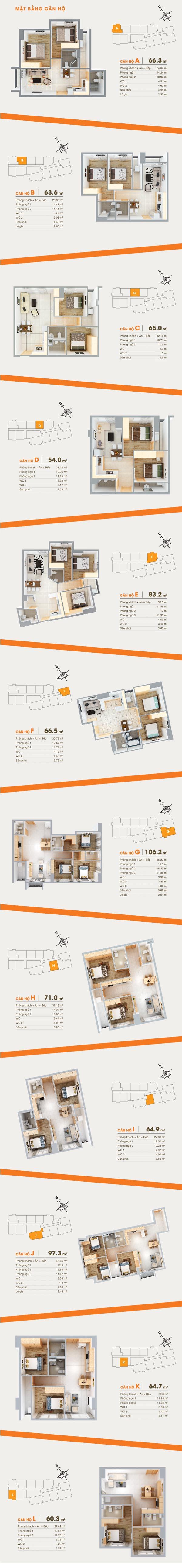 Mặt bằng tầng điển hình căn hộ 91 Phạm Văn Hai