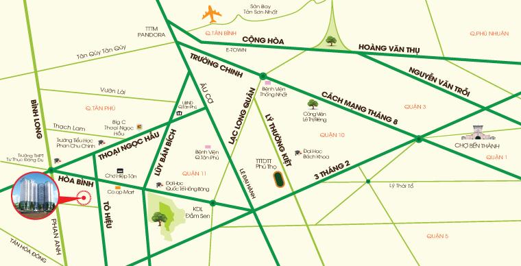 vị trí dự án căn hộ 8x Đầm Sen - Tân Phú