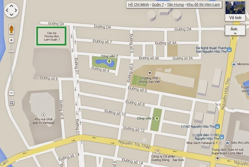 Vị trí căn hộ Florita quận 7