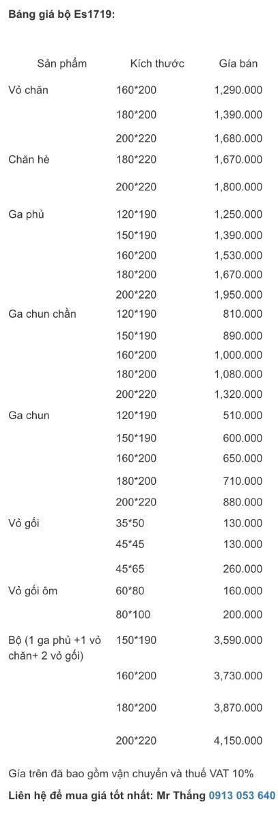 Bảng giá bộ chăn ga gối Everon Es1719