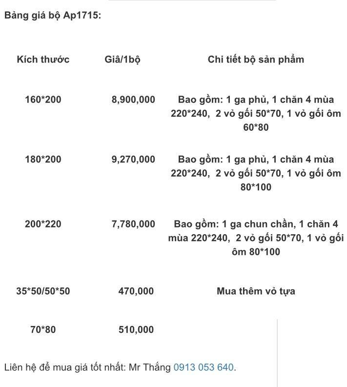 Bảng giá bộ chăn ga gối Artemis Ap1715