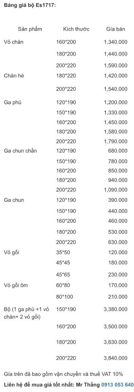 Bảng giá bộ chăn ga gối Everon Es1717