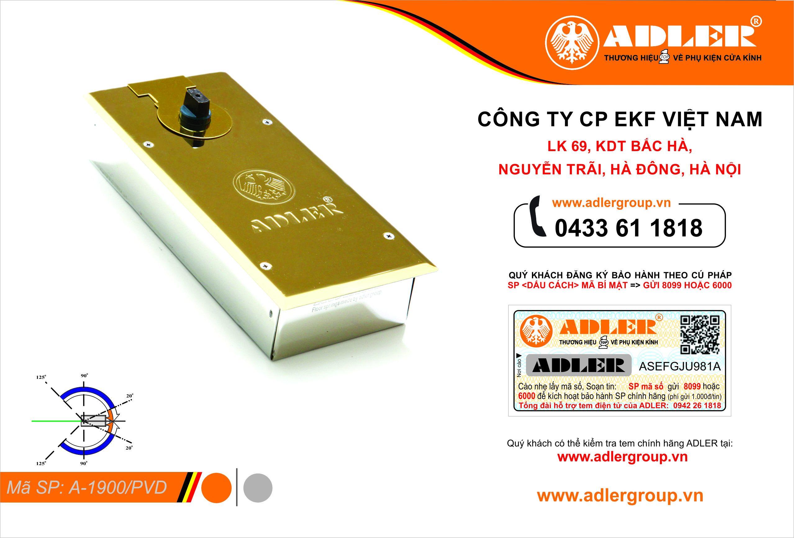 Bản lề sàn A1900 nắp vàng thẩm thấu titan