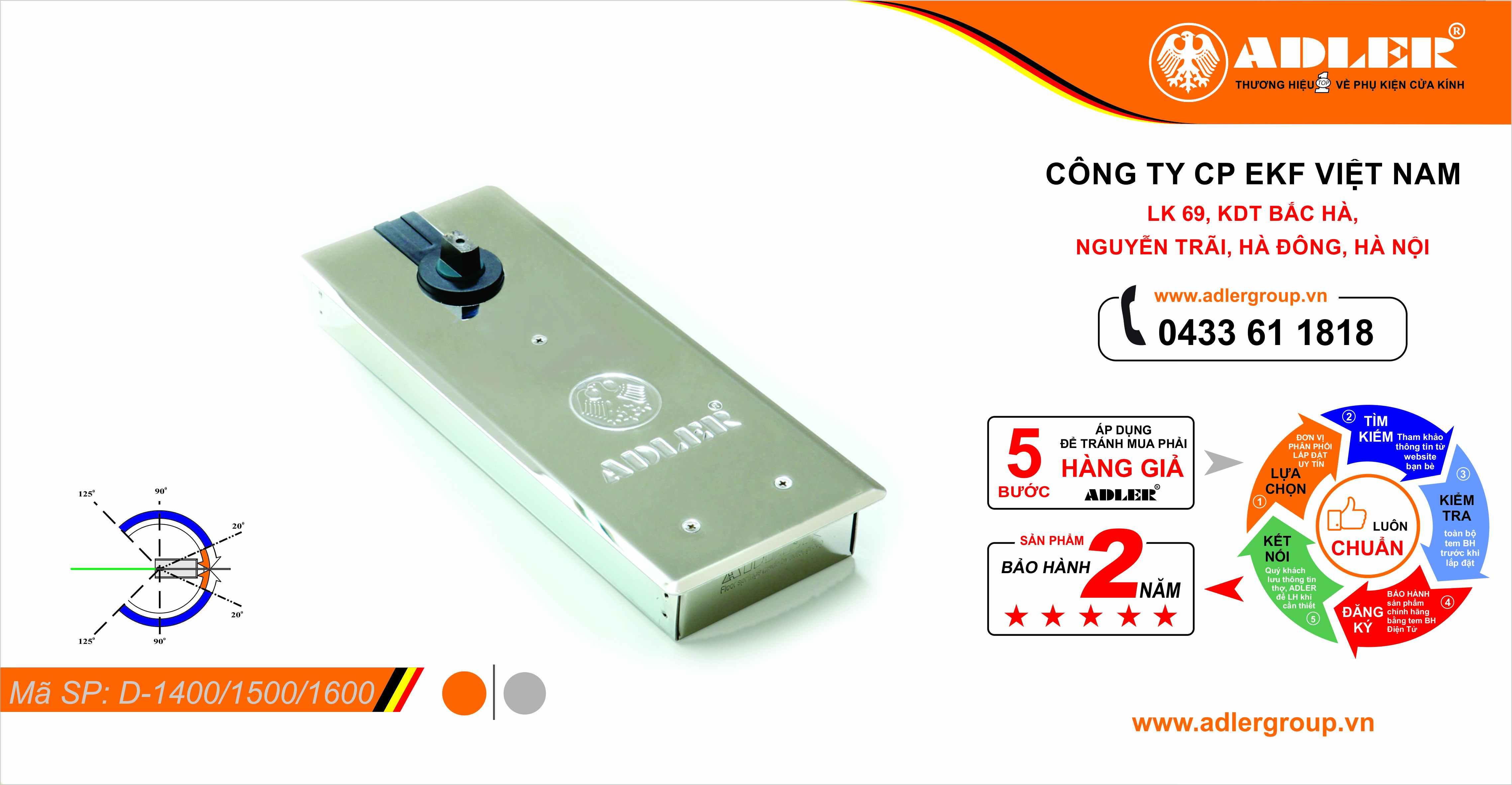 Bản lề sàn nắp trắng Series D: D1400 - D1500 - D1600
