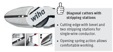 Kìm cắt Wiha, kìm cắt dây có lỗ tuốt dây 1.2 và 1.6mm, kìm Wiha,