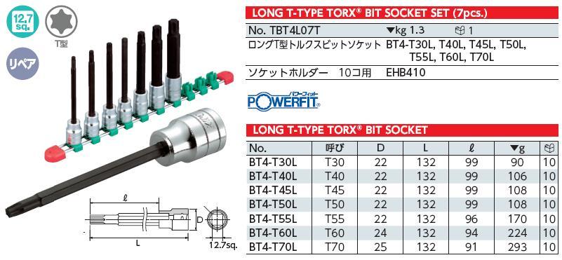 Bộ hình sao với đầu cắm loại 1/2 inch, KTC TBT4L07T, bộ hình sao từ T30 đến T70 loại dài,