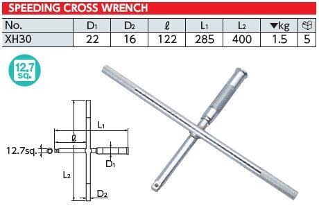 Tay chữ thập đầu 1/2 inch, tay vặn chữ thập KTC, KTC XH30, tay vặn nhanh KTC,