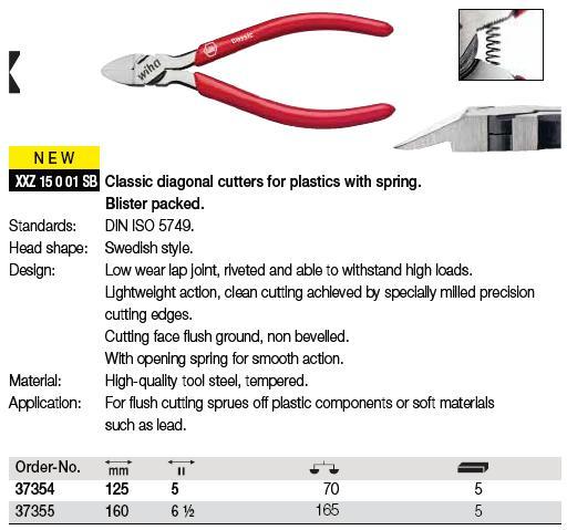 Kìm cắt dây điện, kìm cắt Wha, kìm chuyên dùng cắt dây đồng, kìm cắt dây mềm, Wiha 37355, kìm cắt dài 160mm