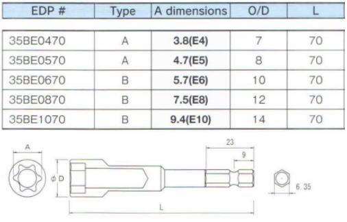 Đầu khẩu E thân lục giác 6.35mm, đâu khẩu E dùng cho lắp ráp, B-35BE