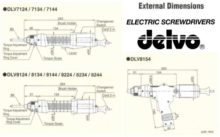 Kích thước tô vít lực Delvo, tô vít dùng cho lắp ráp điện tử, tô vít lực chính xác,
