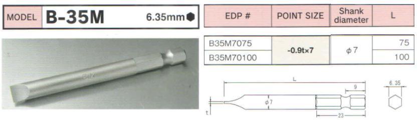 Mũi bits 2 cạnh, đầu bits 2 cạnh BiX với thân lục giác 6.35mm, đầu bits BiX