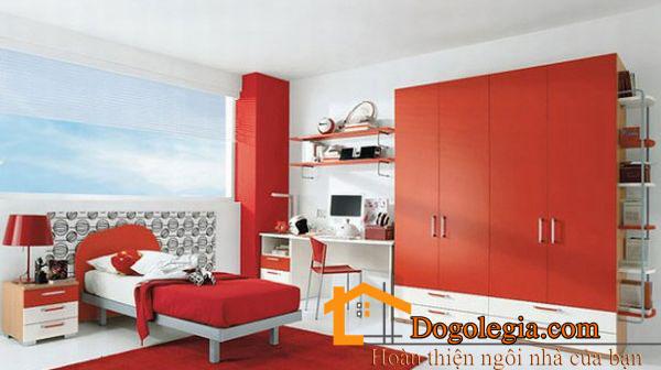 Mẫu tủ âm tường đẹp màu đỏ nóng bỏng