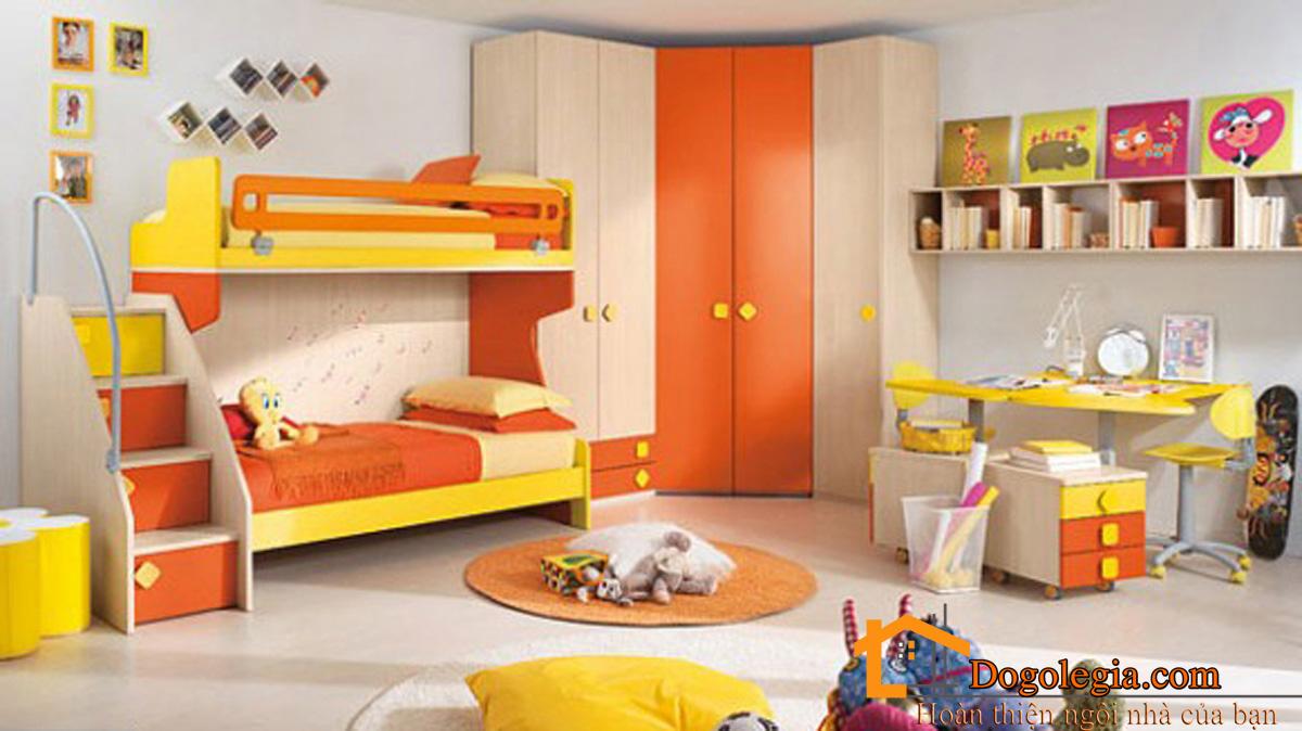 Mẫu tủ tường đẹp màu cam đặc sắc