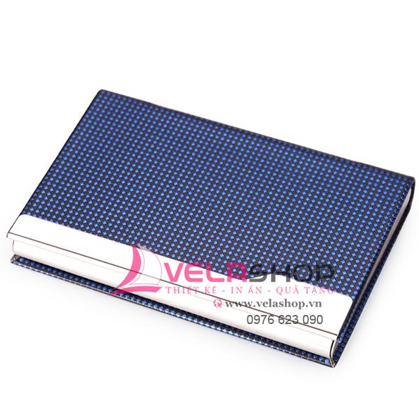 Hộp đựng namecard da pu L089 màu xanh
