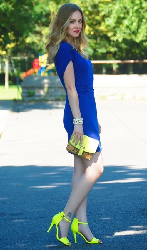 váy công sở xanh coban