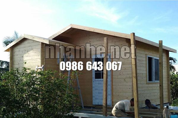 Khung nhà gỗ kết hợp nhà thép lắp ghép