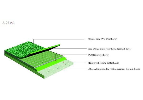 Thảm sân cầu lông Enlio A-23145 được làm từ chất liệu PVC