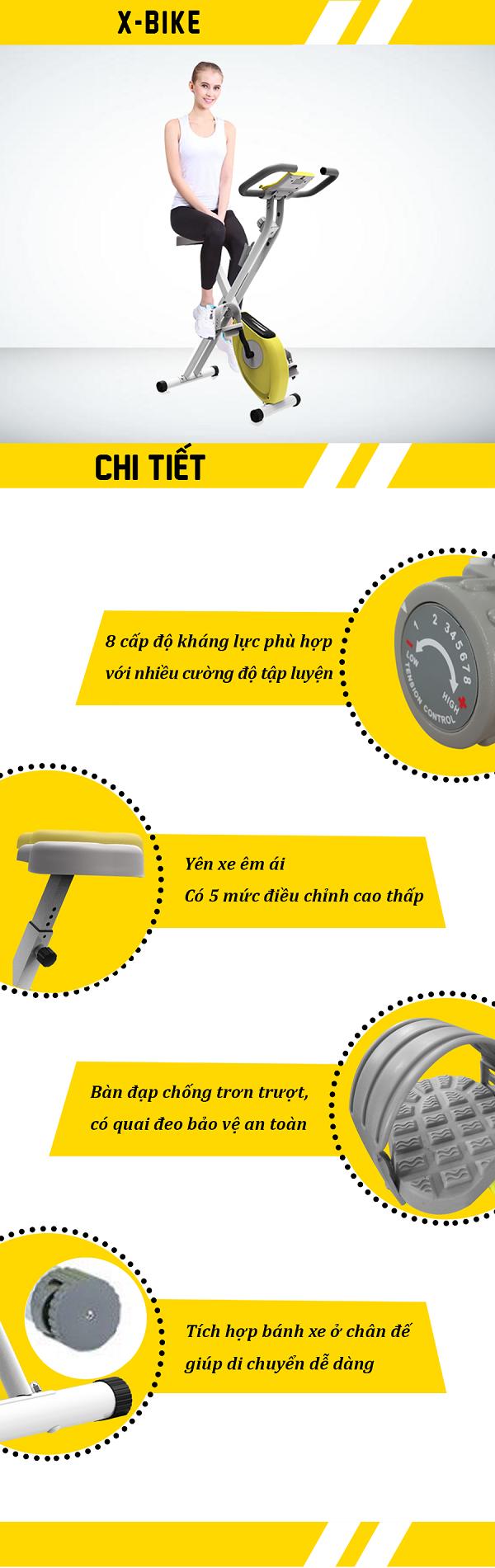 chi tiết xe đạp tập x-bike