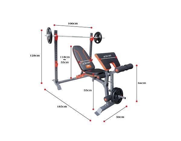 kích thước ghế tập tạ đa năng NMS-7301