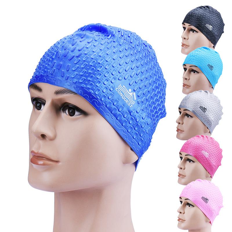 Mũ bơi Conquest gai được làm từ silicon cao cấp vô cùng an toàn cho người dùng