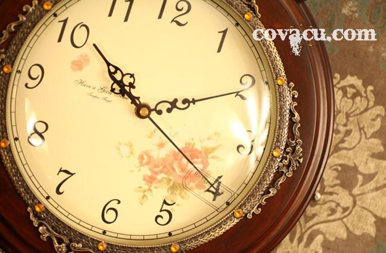 Đồng hồ treo tường cao cấp nạm đồng