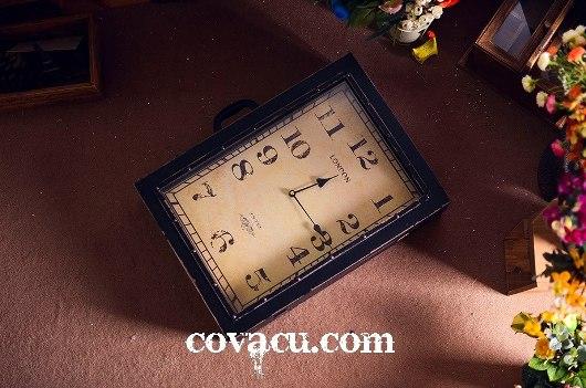 Đồng hồ hộp gỗ giả cổ retro độc đáo cỡ lớn