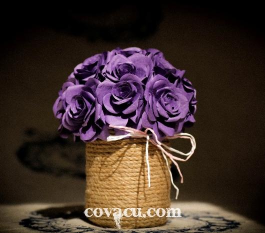 Hoa giấy handmade tặng bạn gái tím lãng mạn