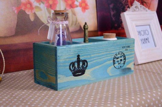 Hộp gỗ cắm bút vintage 3 ngăn