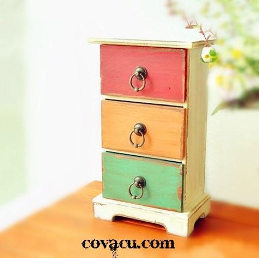 Hộp gỗ giả cổ vintage 3 màu