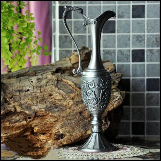 Bình trang trí giả cổ kiểu bạc quai cong