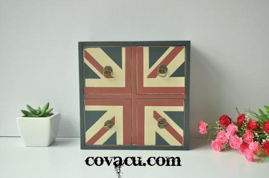 Hộp gỗ vintage cờ Anh
