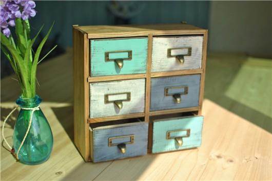 Hộp gỗ vintage 6 hộc nhiều màu