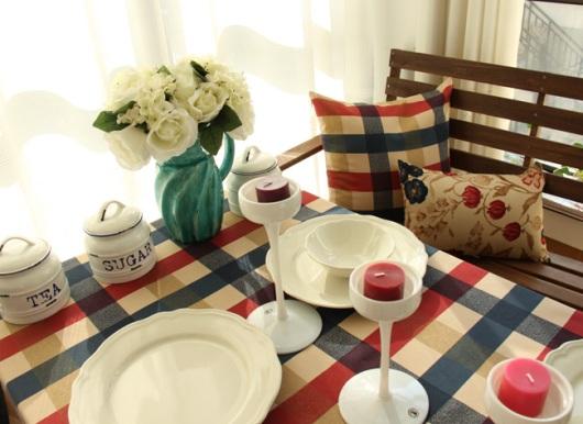 Vải caro địa trung hải làm khăn trải bàn