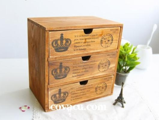 Hộp gỗ đựng đồ vintage