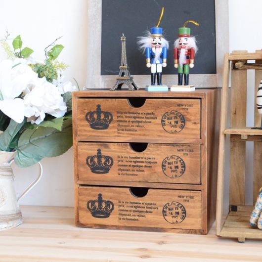 Hộp gỗ retro vương miện 3 ngăn