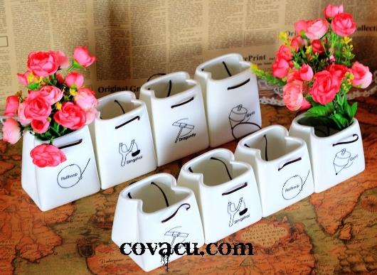 Bình sứ cắm hoa trang trí vintage