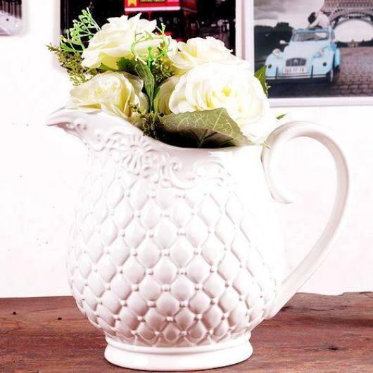 Bình hoa gốm trắng GRID