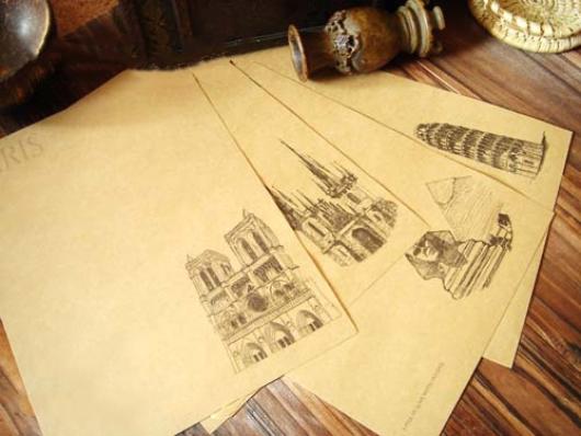 Giấy viết thư Ai Cập cổ + kiến trúc châu Âu
