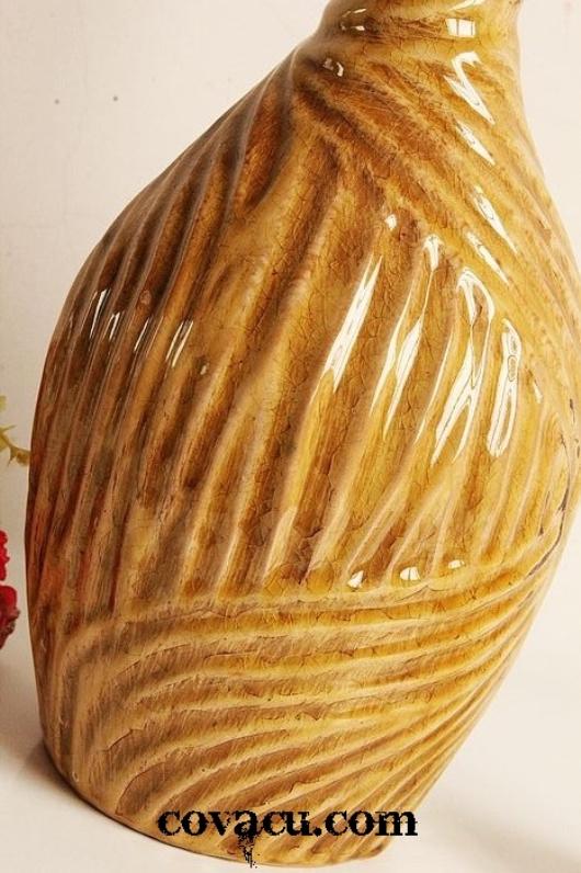 Bình hoa gốm giả cổ trang trí nâu cao cổ tròn