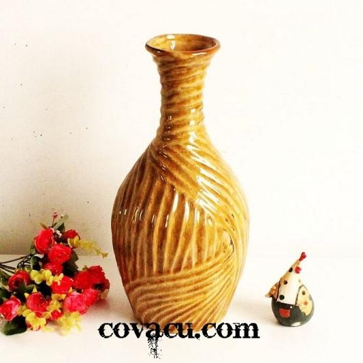 Bình hoa gốm giả cổ trang trí vintage
