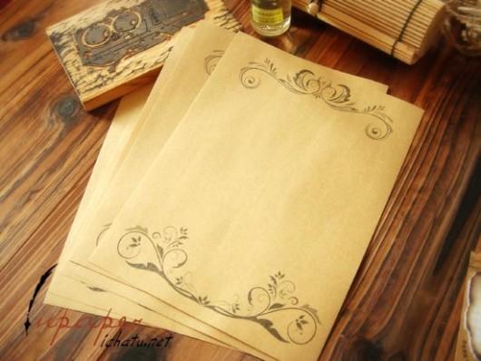 Quà tặng giấy viết thư  hoa văn vintage cổ điển
