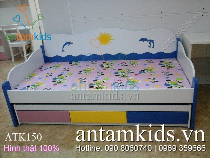 Giường 2 tầng kéo Cá heo mặt trời ATK150 màu xanh cho bé trai bé gái - AnTamKids.vn