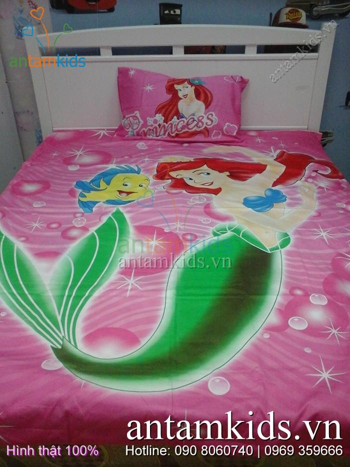 Bộ chăn drap nàng Tiên cá sắc hồng dễ thương cho bé gái ATKDS59 - AntamKids.vn
