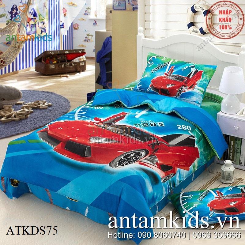 Bộ Drap mền gối hình siêu xe Lamborghini sành điệu cho bé trai mê ô tô