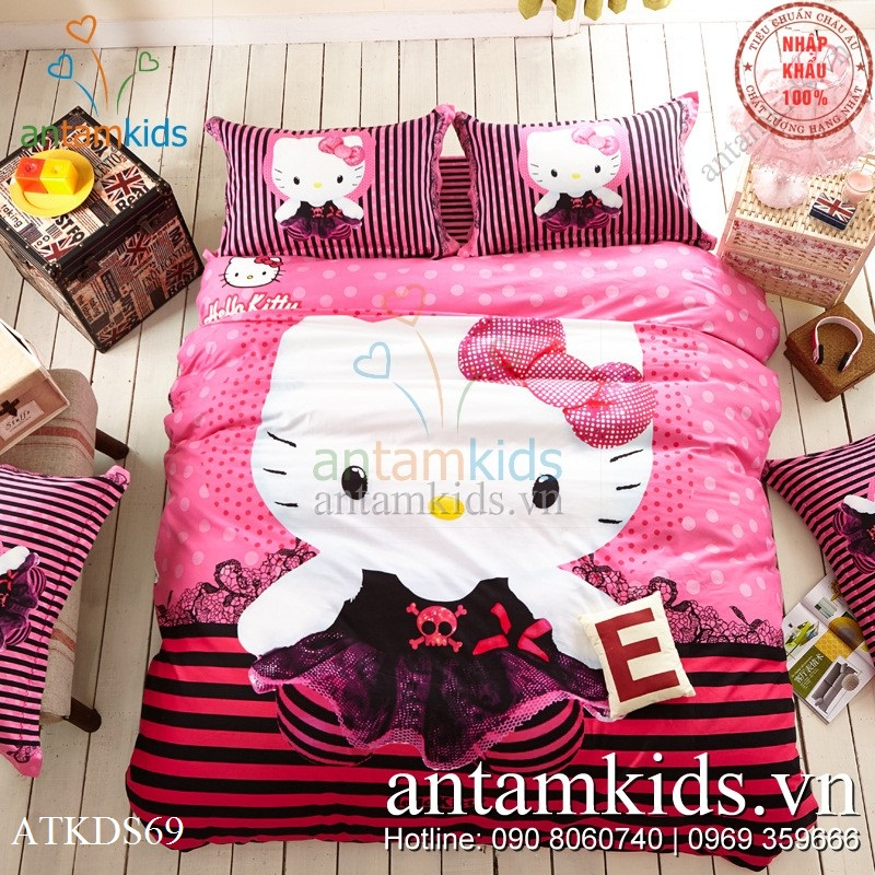 Chăn ga gối đệm Hello Kitty 3D hồng xinh cho bé gái , chăn ga gối Hello Kitty