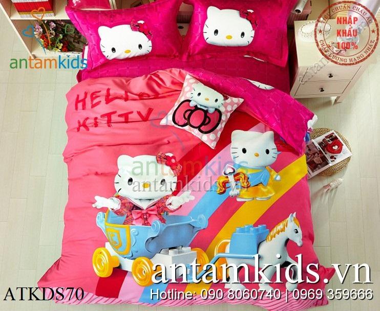 Chăn ga gối hình Hello Kitty 3D đẹp xinh cho bé gái tại Hà Nội, tphcm