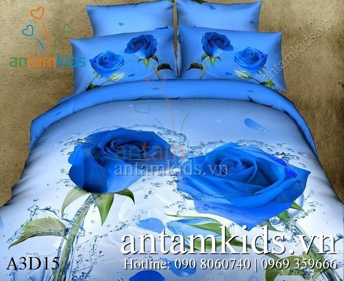 Chăn ga gối Hoa hồng xanh lãng mạn A3D15